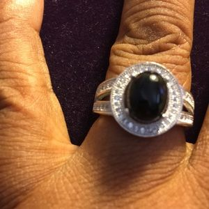 Ring Black Onyx Created Sapphire Sterling Silver